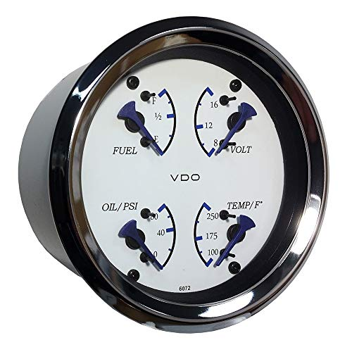 (Vdo Allentare 4 In 1 Gauge - 85mm - White Dial/Blue Pointer - Oil Pressure, Water Temp, Fuel Level, Voltmeter - Chrome Bezel)