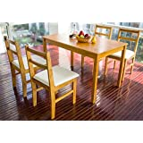 Merax® 5pc Dinning Dinette 4 Person Table and Chairs Set Soild Pine Wood Dining Kitchen, Natural