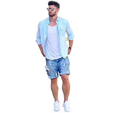 f788526cadf JaneDream Plus Size Style Summer Men Short Jeans Men s Fashion Denim Pants  Men Dark Blue