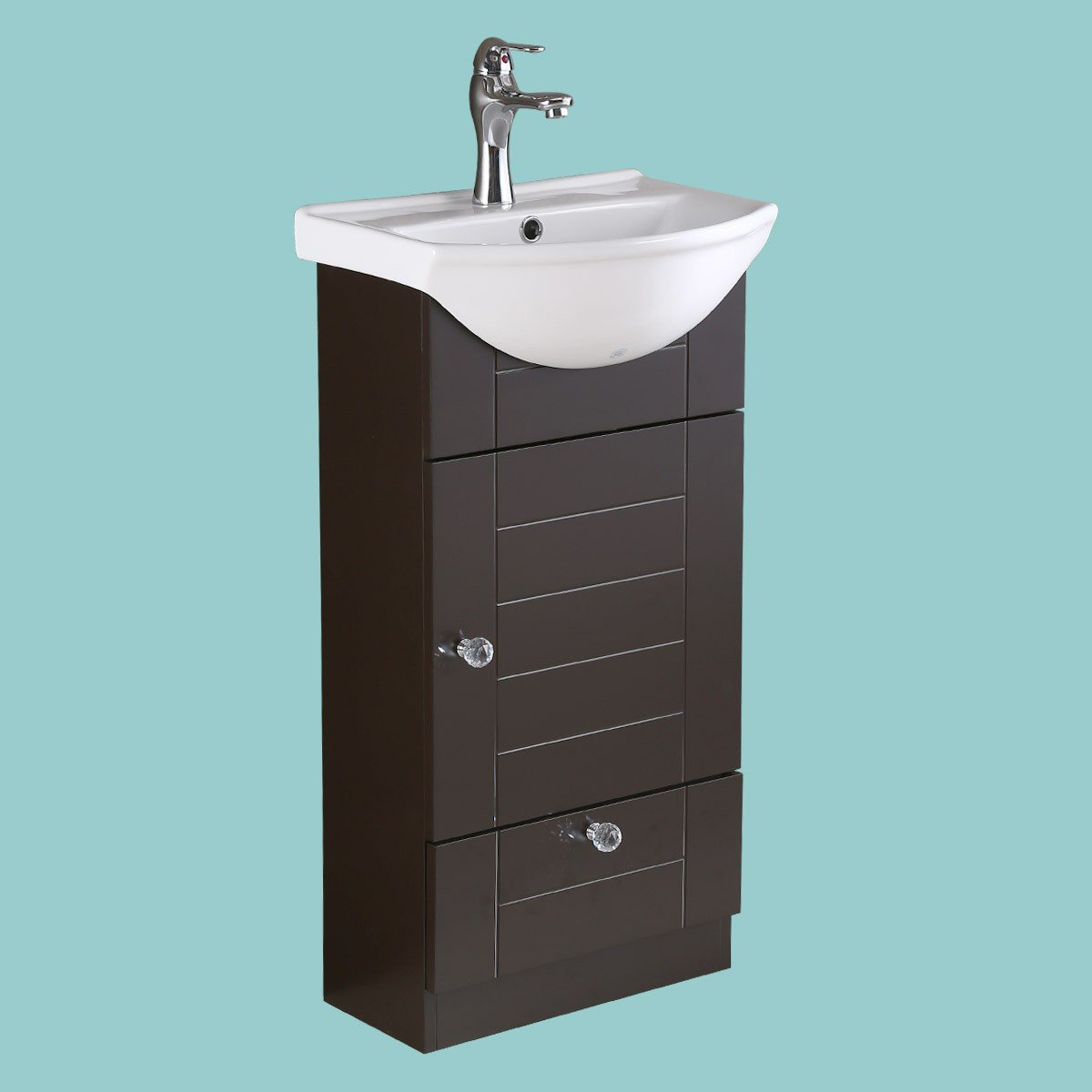 Small Vanity Sink for Bathroom White with Dark Oak Cabinet Faucet ...