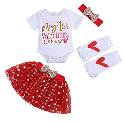Baby Girls My First Valentine's Day Romper Bodysuit + Golden Dots Tutu Skirt + Leg Warmers + Bow Headband 4PCS Outfit Sets(6-9M)