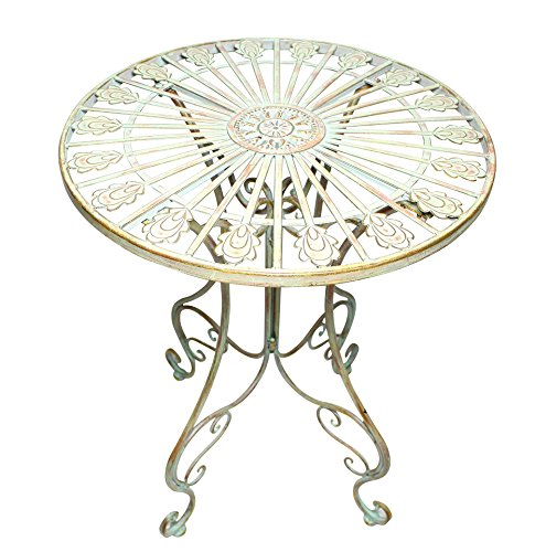 Metal Bistro Table w/ Curved Legs, Scrolling Heart & Peacock Tail Motif Product SKU: PF223587