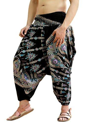 Sarjana Handicrafts Mens Womens Cotton Golden Printed Harem Pants Yoga Drop Crotch Trouser (Purple) (Harem Pants For Men)
