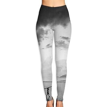 Surfboard Women Sports Gym Yoga Pants Workout Mid Waist ...