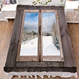 Bedding Duvet Cover Set 3D Print,a Wooden Window of Country House Snow Vintage,Best Modern Style Bed Skirt for Men and Women by 70.9''x94.5''