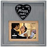 Malden International Designs Rustic Woods Distressed Gray with Burlap Mat The Happy Couple Heart Attachment Picture Frame, 4x6/5x7, Gray