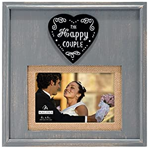 Malden International Designs Rustic Woods Distressed Gray with Burlap Mat The Happy Couple Heart Attachment Picture Frame, 4×6/5×7, Gray
