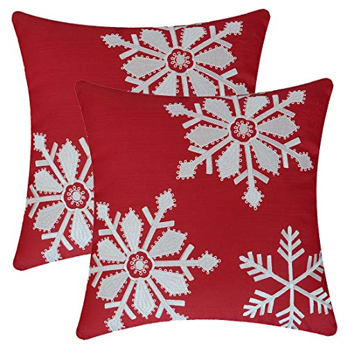 Simhomsen Christmas Holiday Decorative Embroidered Snowflake Throw Pillow Case Cushion Cover (16 x 16 Inch Set of 2)