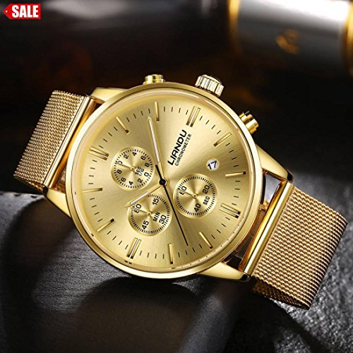 Pocciol Watches Waterproof Sport Watch Luminous Analog Quartz Business Luxury Dress Wrist Watch Casual Clock Watches for Men (Gold) by Pocciol (Image #4)
