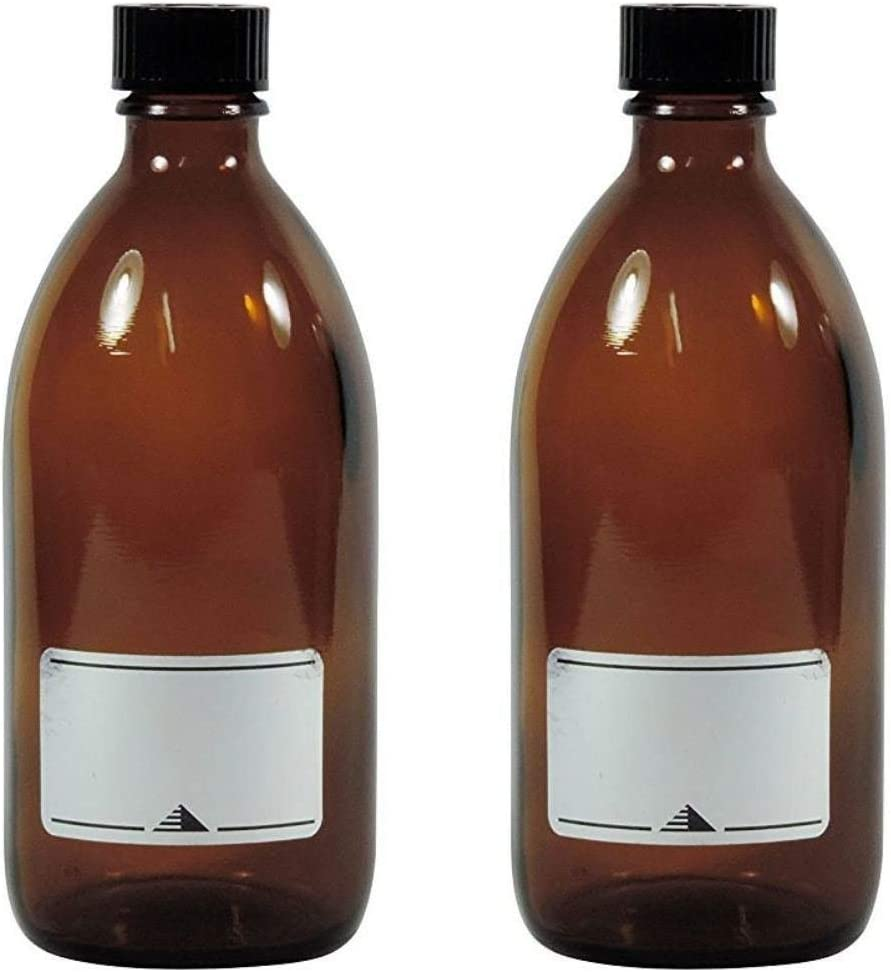 Vidrio Medicinal de//braunglasflasche inkulsive un Etiqueta identificadora 1 x 500ml Viva Haushaltswaren frascos de Farmacia marr/ón