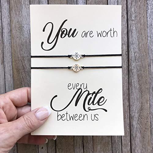 Amazon.com: Long distance relationship gifts, Matching bracelet set of 2, Compass bracelet, Love bracelet, Long distance love, Boyfriend gift: Handmade