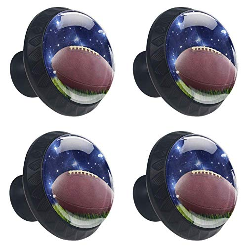 Idealiy Football and Stars Drawer Knob Pull Handle Cupboard Knobs with Screws 4pcs