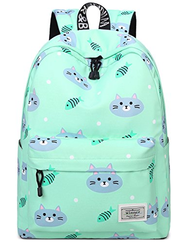 Bookbags for Teens, Cute Cat and Fish Laptop Backpack School Bags Travel Daypack Handbag by Mygreen Green (Cute Green Backpack)