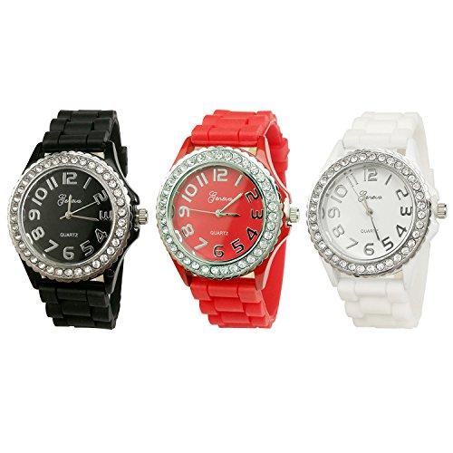 Platinum Silicone Band CZ Watch Set (Black, White, Red)