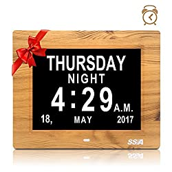 Alarm Clock, Digital Calendar Day Clock with Clear Large Non-Abbreviated Day & Month Wall hanging or Desk/Shelf clock Dementia Clock