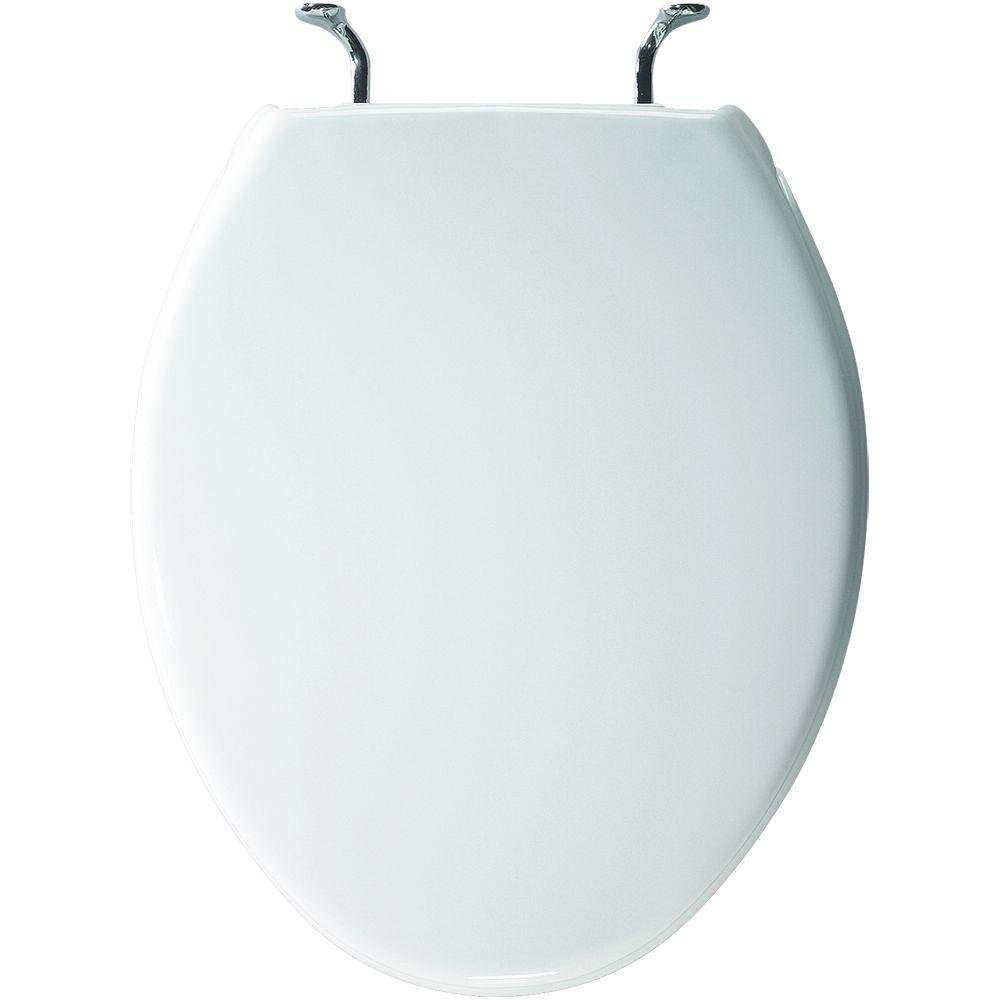 Bemis 800CCP000 Case Toilet Round Toilet Seat with Chrome Hinges, White by Bemis