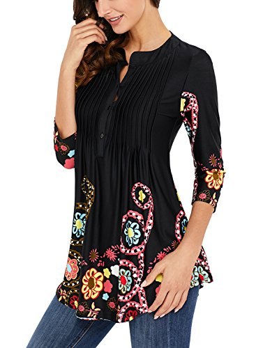 (Lovezesent Women's Front Ruched Floral Print Tunic Tops with 3/4 Sleeves Casual Loose Fit Button Up Blouses and Shirts Black Small)