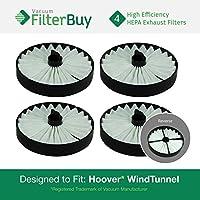 4 - Hoover WindTunnel HEPA Filters, Part # 59134050. Designed by FilterBuy to fit ALL Hoover WindTunnel Upright Vacuum Models S3755, S3765, S3755045, S3765040, S3755080