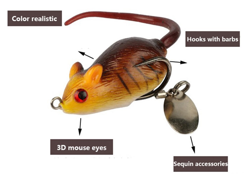 Mouse Shape Artificial Baits Easy To Use Fishing Lure Outdoor With Hooks Sequins