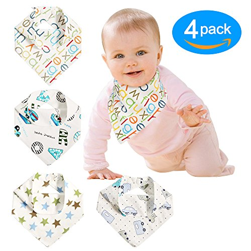 Baby Bandana Drool Bibs Unisex 4 pack for Boys & Girls 100% Absorbent & Soft Cotton with Adjustable Snaps for Teething Drooling Feeding Baby Shower Newborn Registry Gift