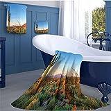 WolfgangDecor Saguaro Soft Luxury Bath Sheet Set Sun Goes Down in Desert Prickly Pear Cactus Southwest Texas National Park Bath towel 3D digital printing set Orange Blue Green