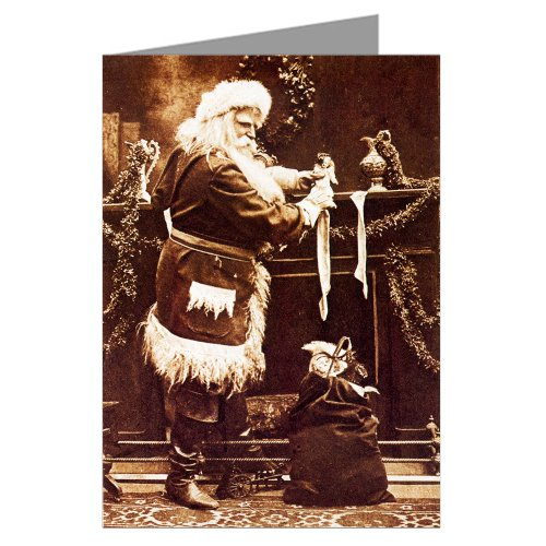 Black And White Victorian Christmas Santa putting Toys in the Fireplace Stockings Vintage Holiday Note Cards Boxed Set