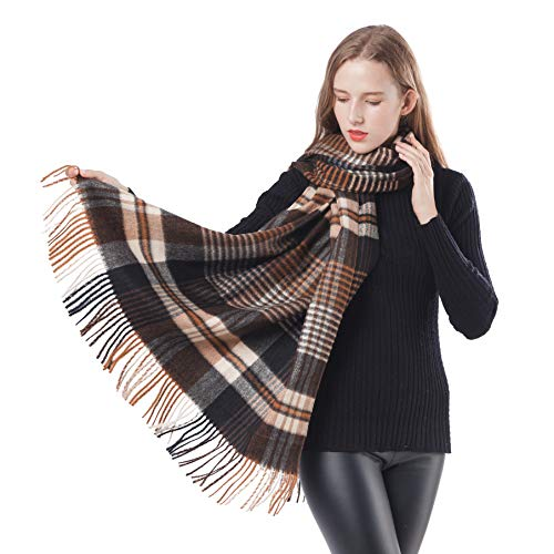 Women Pashminas Shawl and Wraps Plaid Soft Large Winter Cashmere Wool Scarfs Warm Cape (Coffee+Black Plaid)