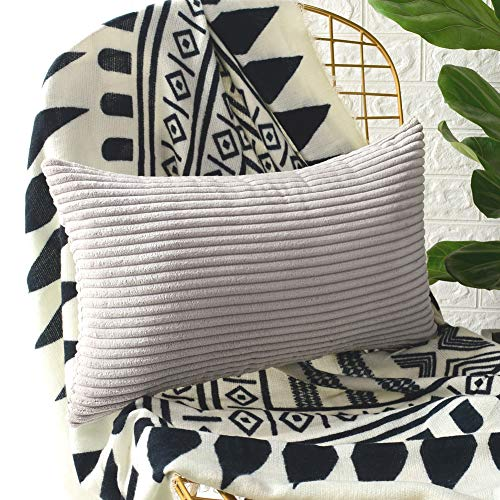 MERNETTE Corduroy Soft Decorative Square Throw Pillow Cover Cushion Covers Pillowcase, Home Decor Decorations for Sofa Couch Bed Chair12x20 Inch/30x50 cm (Striped Light Grey) ()