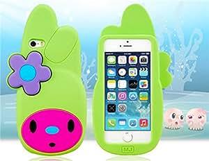 E-LBC® Estuche protector Diseño de la historieta encantadora del silicón para el iPhone 5S / 5 (verde)