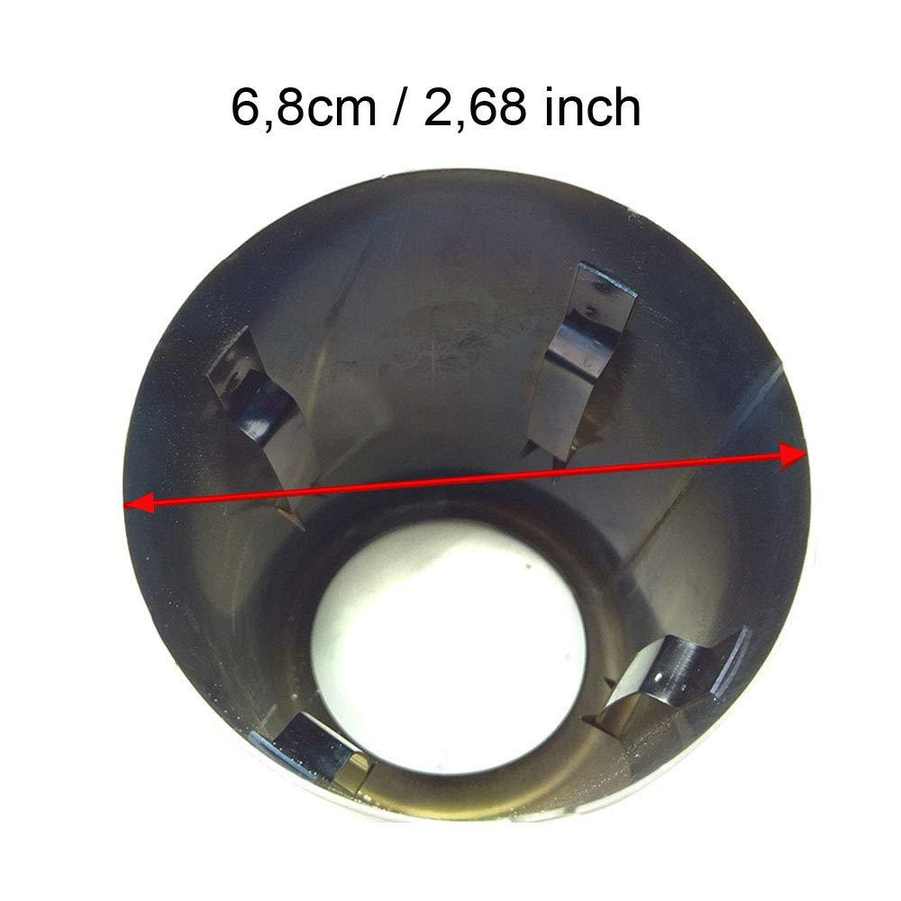 BIOENGIE Auspuffblende Endrohr Edelstahl Auspuffanlage Auspuff Schwarz poliert Plug/&Play Endrohrblenden Endrohrblende Auspuff Blende Endrohre 70MM