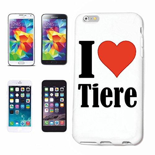 """Handyhülle iPhone 4 / 4S """"I Love Tiere"""" Hardcase Schutzhülle Handycover Smart Cover für Apple iPhone … in Weiß … Schlank und schön, das ist unser HardCase. Das Case wird mit einem Klick auf deinem Sma"""