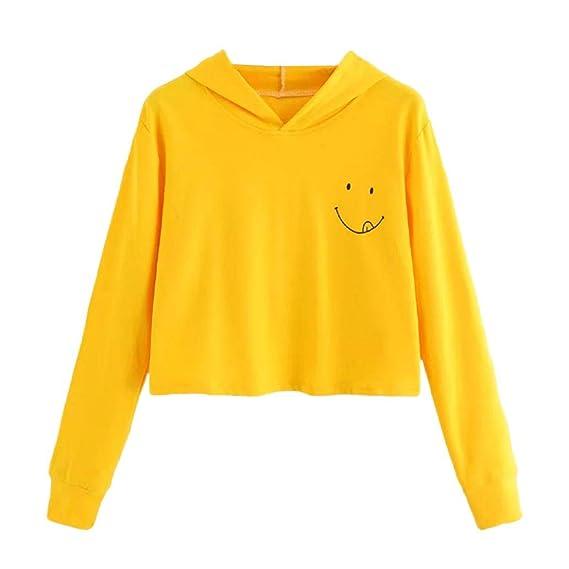 Yesmile Mujer Camisetas❤️Las Mujeres Camisa Sudadera con Capucha de Manga Larga con Capucha para Mujer Otoño Sudadera con Capucha Tops de Blusa: ...