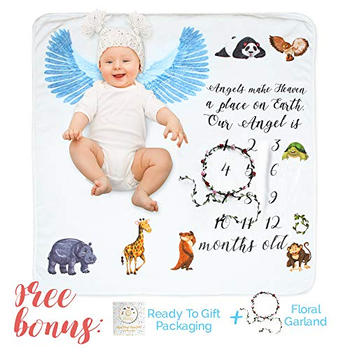 Milestone Blanket for Newborn Girl or Boy - Thick Flannel Fleece Blanket (40 x 40) with Numbers, Flower Wreath and Box for Personalized Photos - Perfect Baby Shower Gift for Moms and Newborns