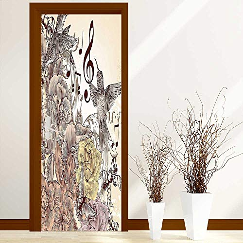 Art Door Decals Collection Fashion Flourishes and Birds Butterfly Rose Blossoms Leaves Nostalgia Image Ivory Brown for Door/Bathroom/Office W36 x H79 ()