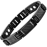 Bracelet homme femme en titane magnetique aimanté aimant fibre de carbone noir