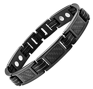 6d050af20f8 topt mag Bracelet Homme Femme en Titane magnetique aimanté Aimant Fibre de  Carbone Noir