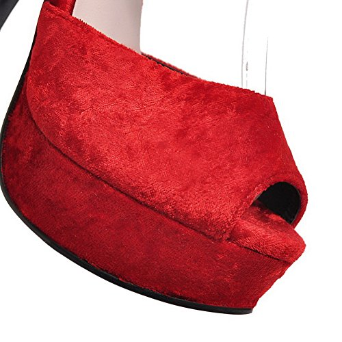 and Open VogueZone009 Solid Hook Women's Loop Red Toe Sandals wqEaEXr