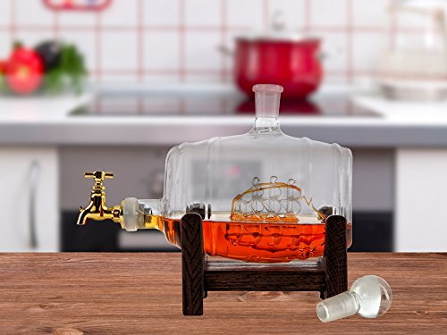 Barrel Large Etched Glass Whiskey Bourbon Decanter - 1000ml (35 oz) with ship inside and dark finished wood standfor Scotch, Rum, Tequila, Liquor, - Barrel Rum