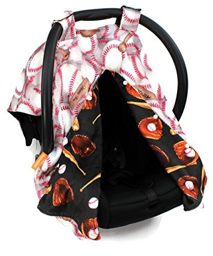 Dear Baby Gear Deluxe Reversible Car Seat Canopy, Custom Minky Print, Baseball Bat Glove