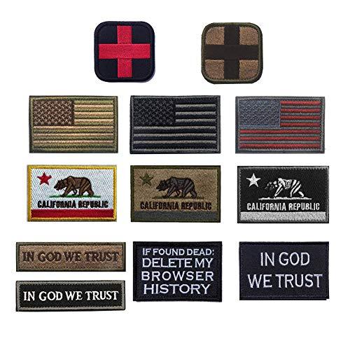 R.SASR Bundle 12 Pieces Morale Patches, Tactical Military Morale Patch Set. USA Flag Patches, California Tactical Patch, Bear Morale Patch (Mix 12)