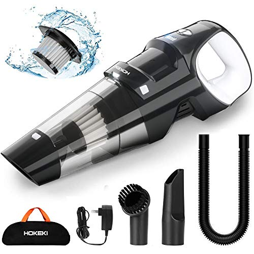 Handheld Vacuum, HOKEKI 6KPA Cordless Hand Vacuum Cleaner Rechargeable Hand Vac, LED Light 120W Stronger Cyclonic Suction Lightweight Wet/Dry Vacuum for Home Pet Hair Car Cleaning (Small Hand Vacuum Cleaner)