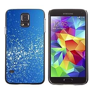 FECELL CITY // Duro Aluminio Pegatina PC Caso decorativo Funda Carcasa de Protección para Samsung Galaxy S5 SM-G900 // Blue White Snow Glitter