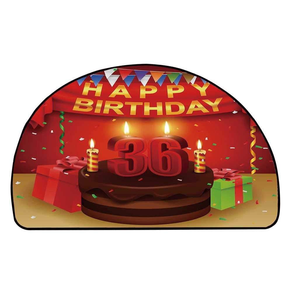 C COABALLA 36th Birthday Decorations Comfortable Semicircle Mat,Celebration Party with Cake Candles and Presents Print for Living Room,11.8'' H x 23.6'' L