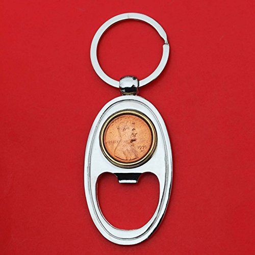 (US 1970 Lincoln Small Cent BU Uncirculated Coin Gold Silver Two Tone Key Chain Ring Bottle Opener NEW - Lucky Penny)