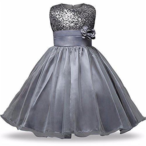 VIMIKID aile Rabbit Girls Sequin Satin Tulle Evening Dresses Wedding Pageant Flower Girl Party Dress(4-12 Years) -