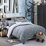 NANKO Duvet Cover Twin Bedding Set, 2 pieces w/o Comforter - Geometrical Striped Reversible Print Microfiber Quilt Bed Covers, Lightweight Hypoallergenic Zipper, Tie Boy/Teen, Blue Gray