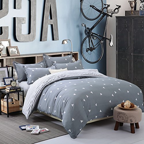 NANKO Duvet Cover Twin Bedding Set, 2 Pieces w/o Comforter - Geometrical Striped Reversible Print Microfiber Quilt Bed Covers, Lightweight Hypoallergenic with Zipper, Tie for Boy/Teen, Blue Gray
