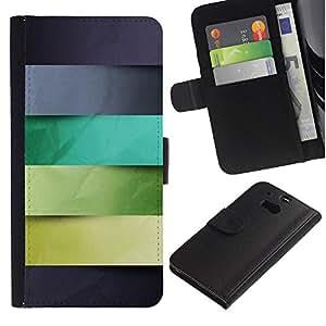 KingStore / Leather Etui en cuir / HTC One M8 / Monotone Stripes pastel Patrón
