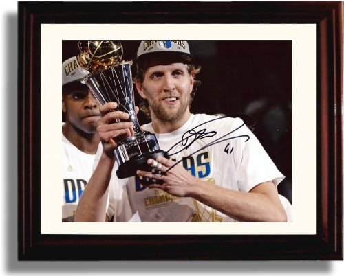 Price comparison product image Framed Dirk Nowitzki Autograph Replica Print - Dallas Mavericks