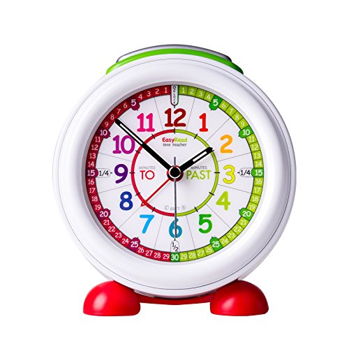 EasyRead Time Teacher Children's Alarm Clock with Night Light, 'Minutes Past & Minutes to' Rainbow Clock Face